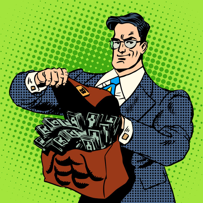 The Super Businessman To Do With A Suitcase Of Money. Business Concept Finance Income Cash. Retro Style Pop Art