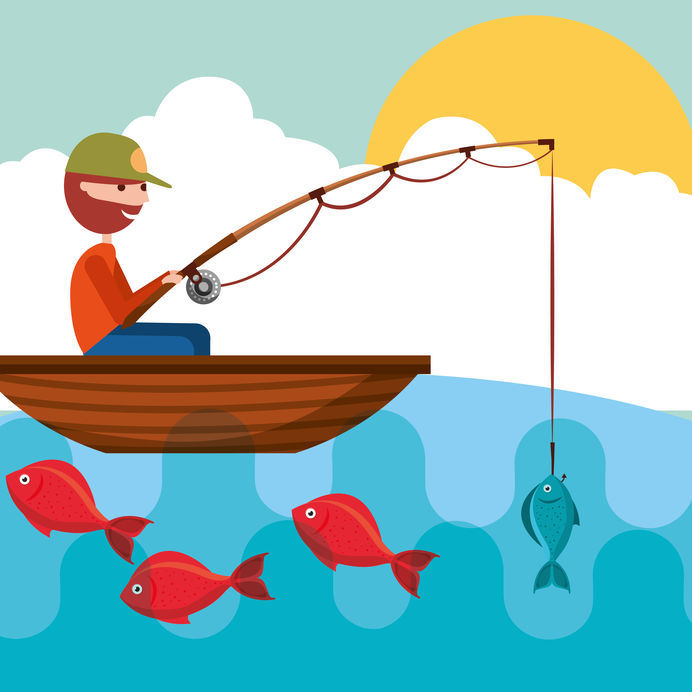 Fisherman In The Boat With Fish In Rod Hook Vector Illustration