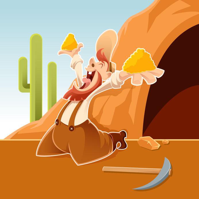 Vector Image Of An Happy Cartoon Prospector